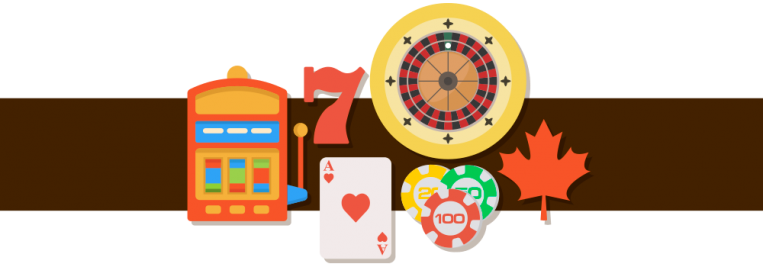 lucky 7, casino slot, roulette wheel, playing cards, casino chip and Canadian maple leaf